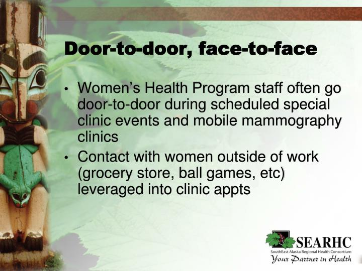 Door-to-door, face-to-face