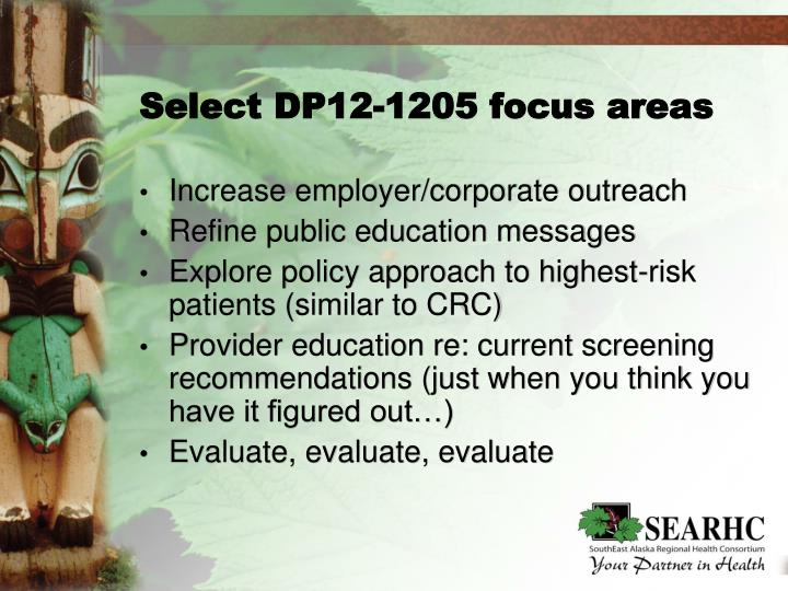 Select DP12-1205 focus areas