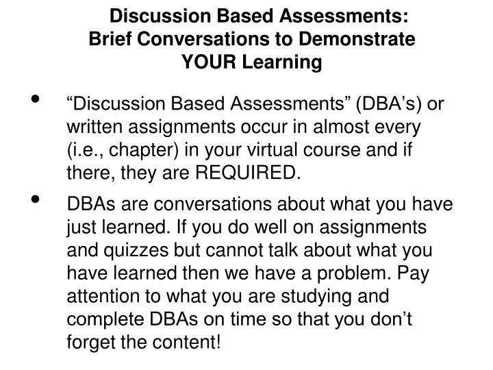 Discussion Based Assessments:
