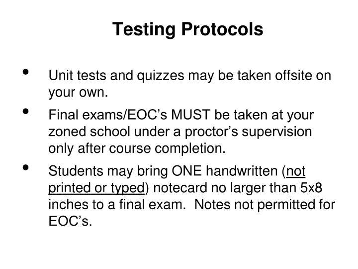 Testing Protocols