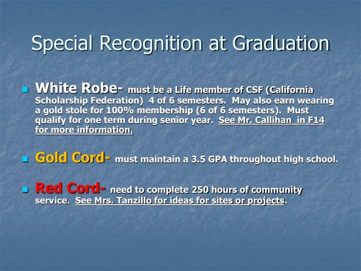 Special Recognition at Graduation
