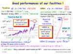 good performances of our facilities