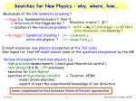 searches for new physics why where how
