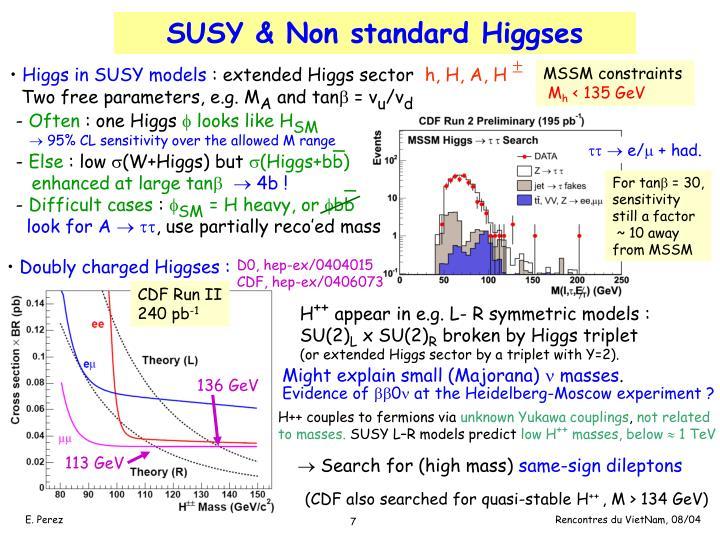 SUSY & Non standard Higgses