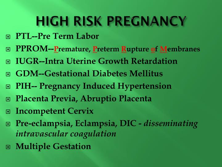 HIGH RISK PREGNANCY