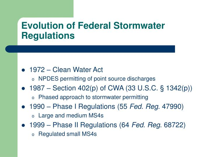 Evolution of federal stormwater regulations