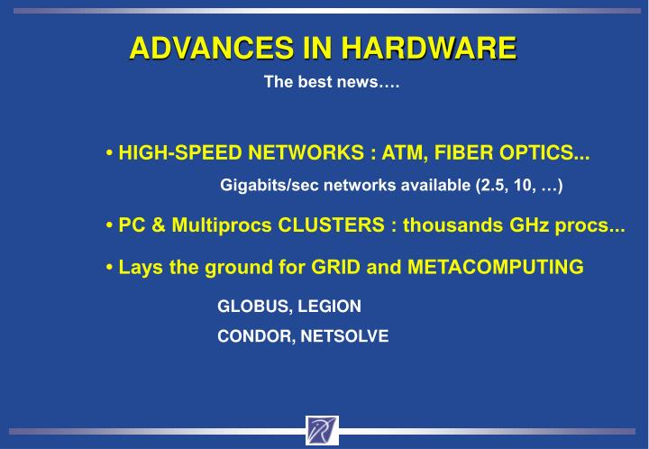ADVANCES IN HARDWARE