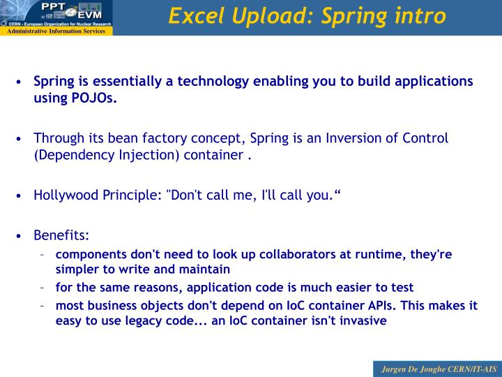 Excel Upload: Spring intro