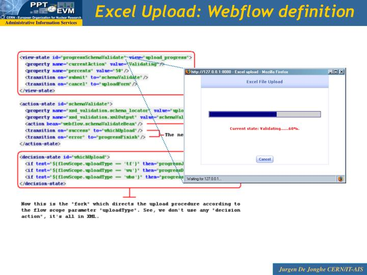 Excel Upload: Webflow definition