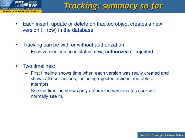 Tracking: summary so far