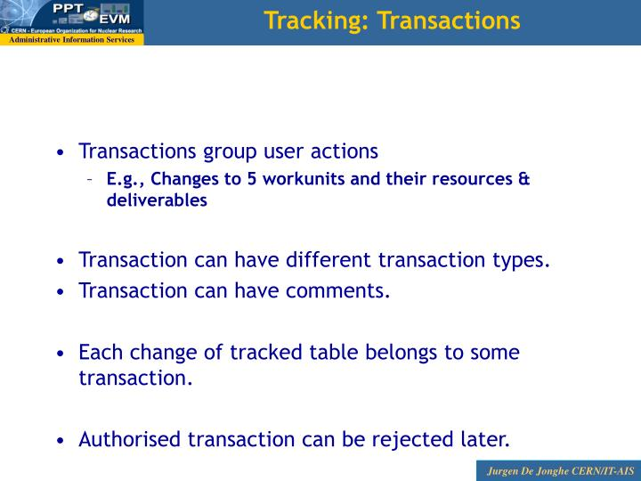 Tracking: Transactions