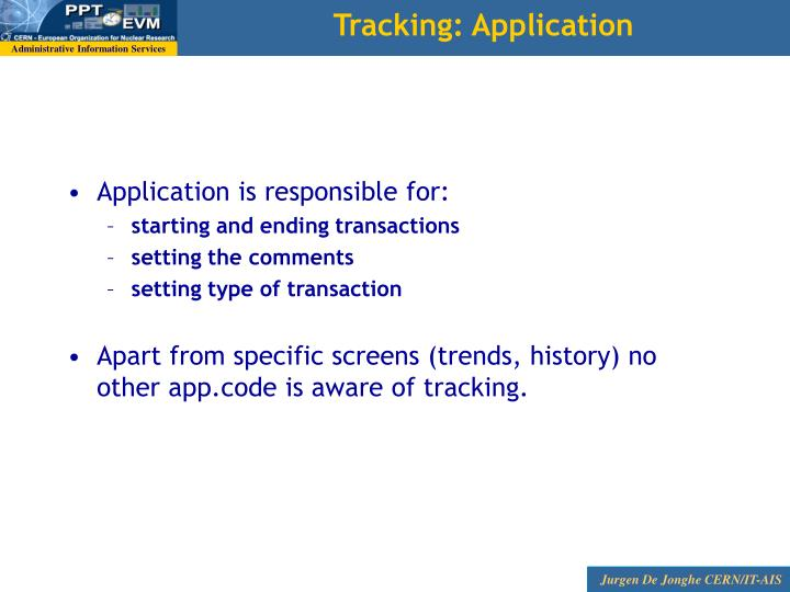 Tracking: Application
