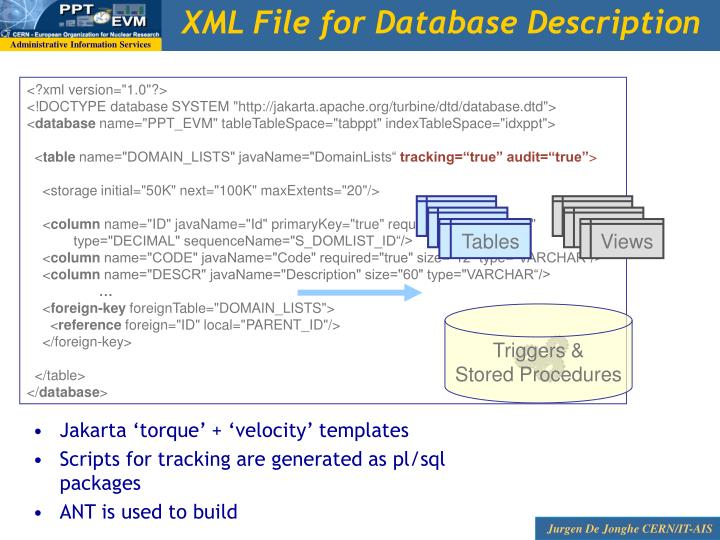 XML File for Database Description