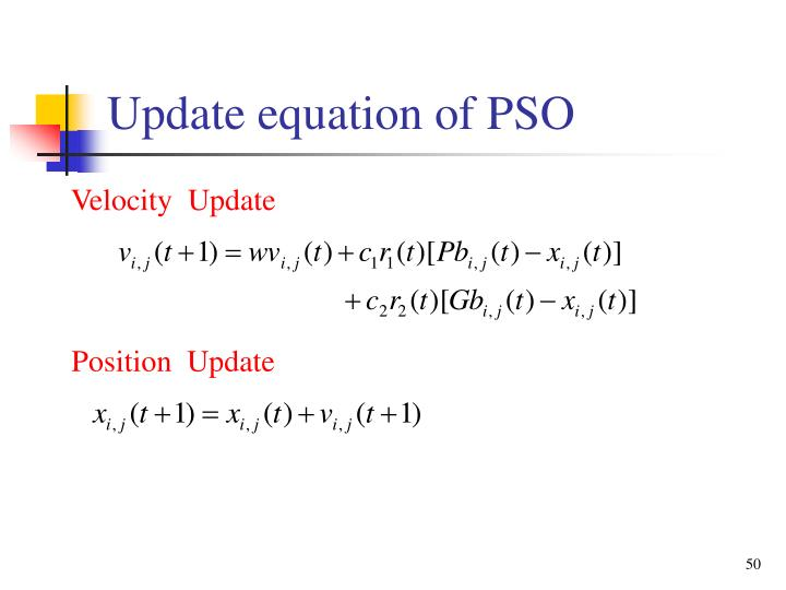 Update equation of PSO