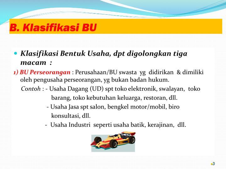 B. Klasifikasi BU