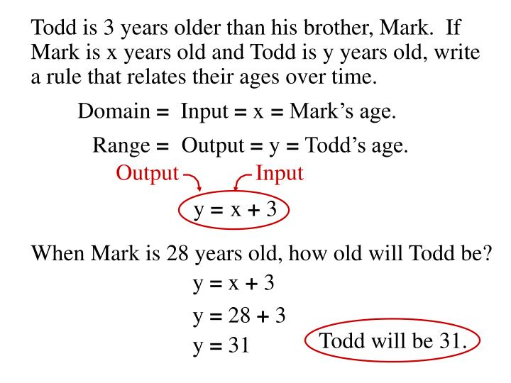 Todd is 3 years older than his brother, Mark.  If
