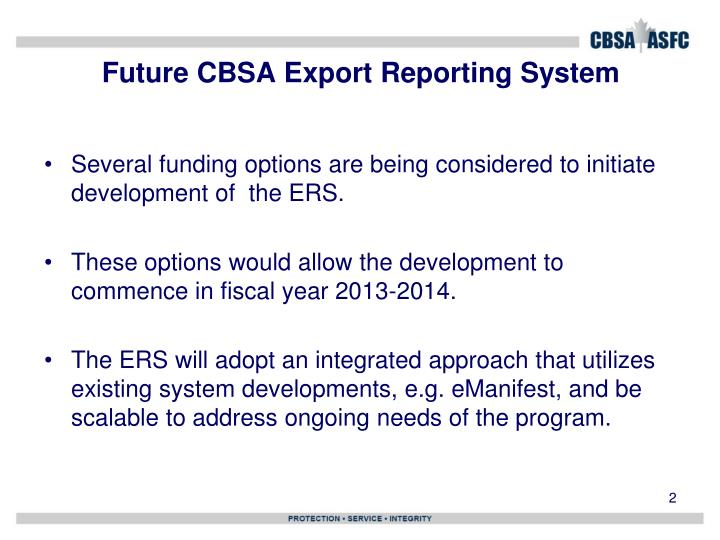 Future cbsa export reporting system