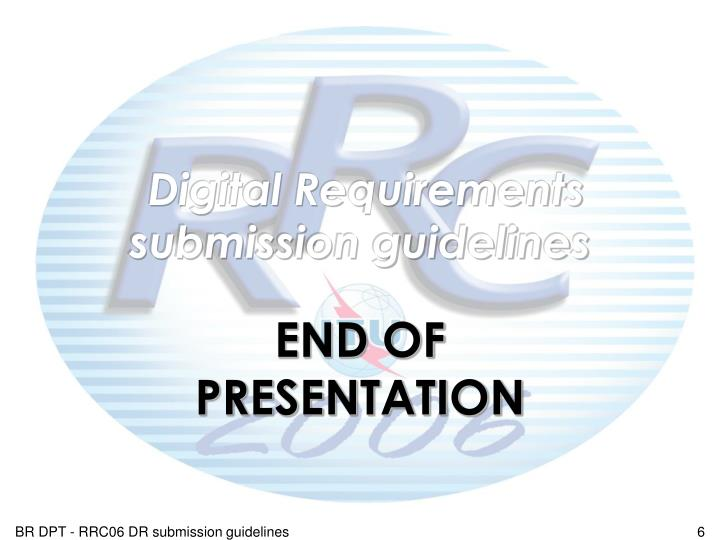 Digital Requirements submission guidelines