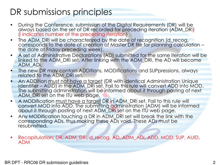 DR submissions principles