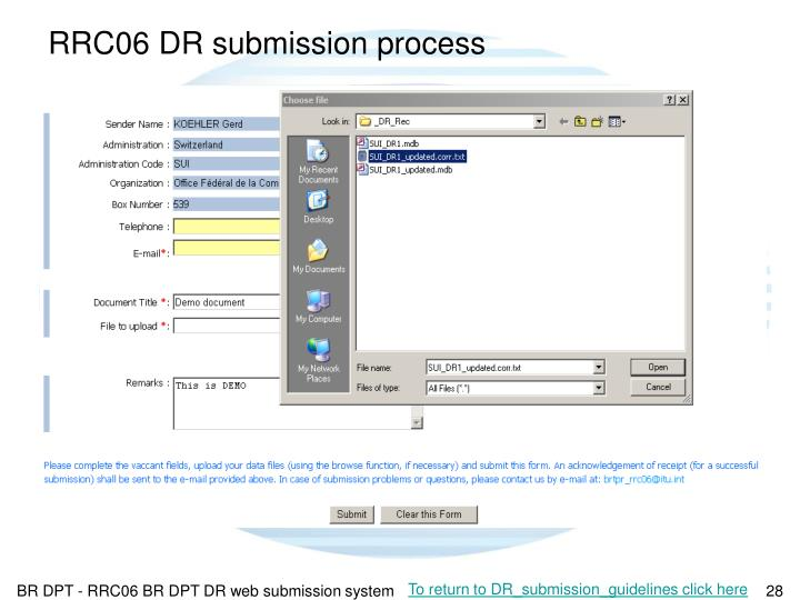 RRC06 DR submission process