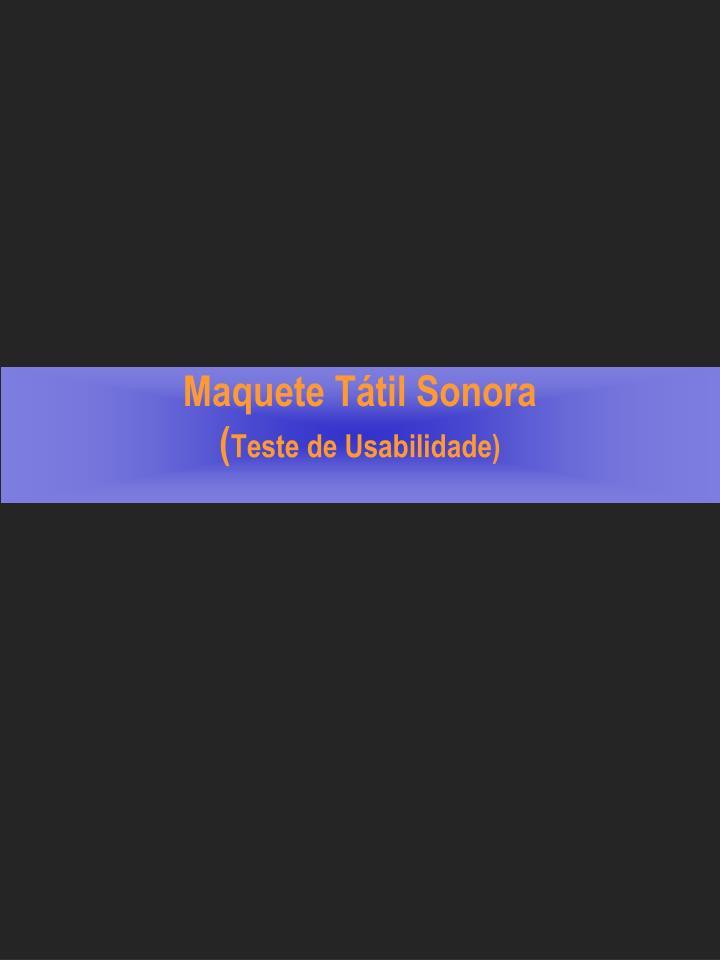 Maquete Tátil Sonora
