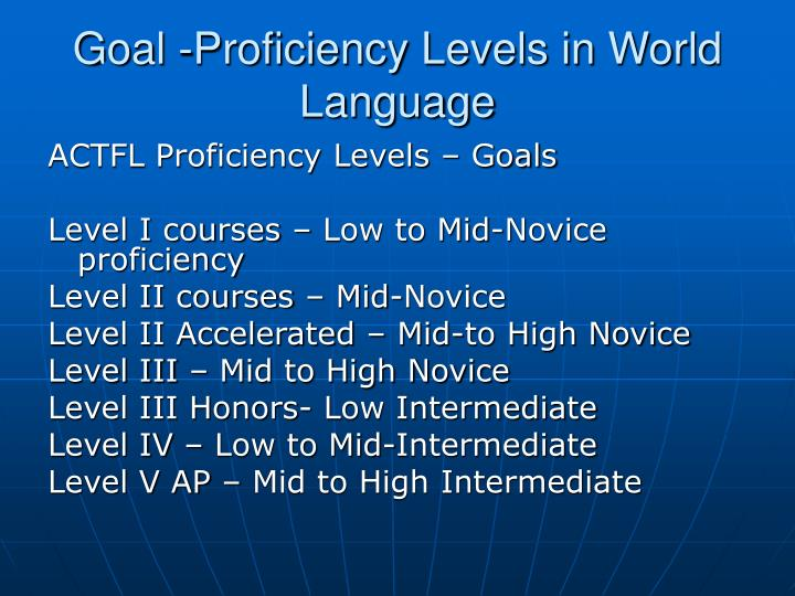 Goal -Proficiency Levels in World Language