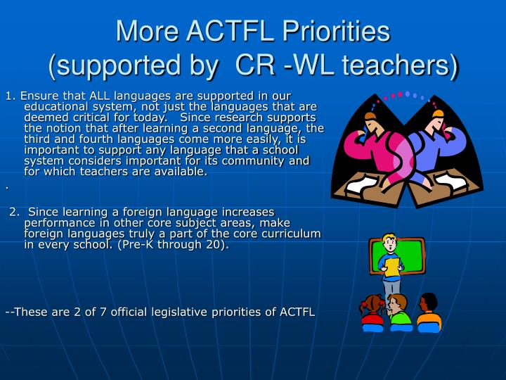 More actfl priorities supported by cr wl teachers