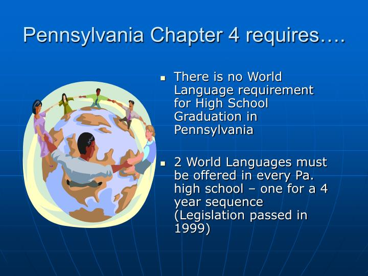 Pennsylvania Chapter 4 requires….