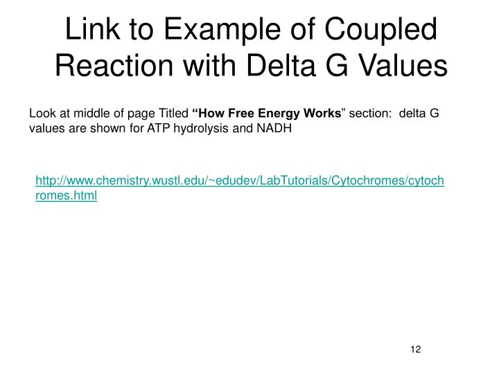 Link to Example of Coupled Reaction with Delta G Values