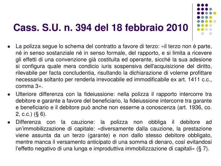 Cass. S.U. n. 394 del 18 febbraio 2010