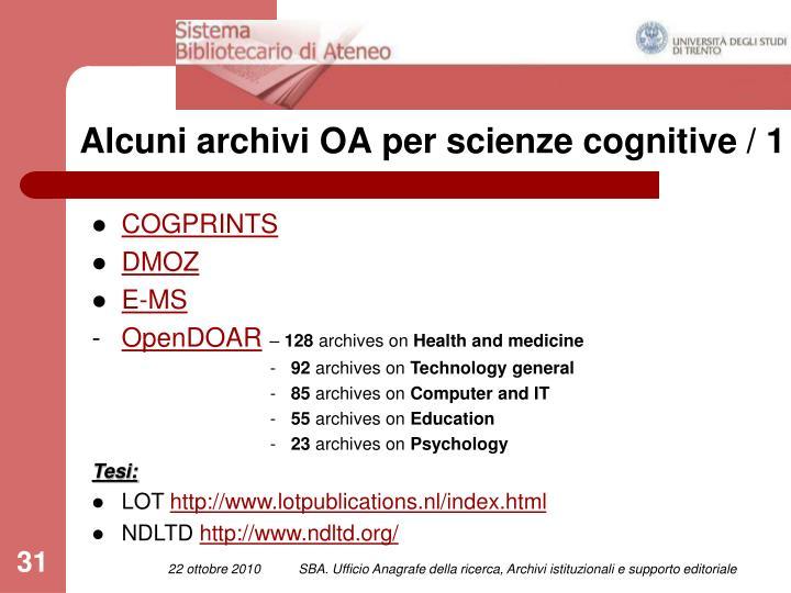 Alcuni archivi OA per scienze cognitive / 1