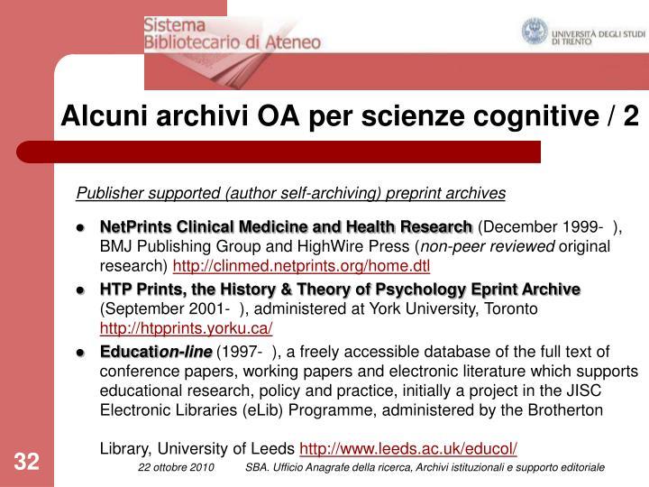 Alcuni archivi OA per scienze cognitive / 2