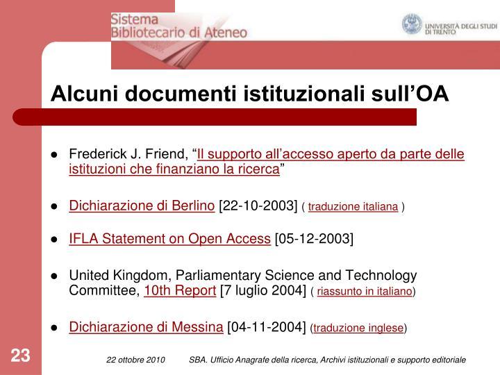 Alcuni documenti istituzionali sull'OA