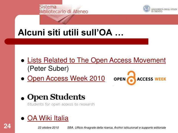 Alcuni siti utili sull'OA …