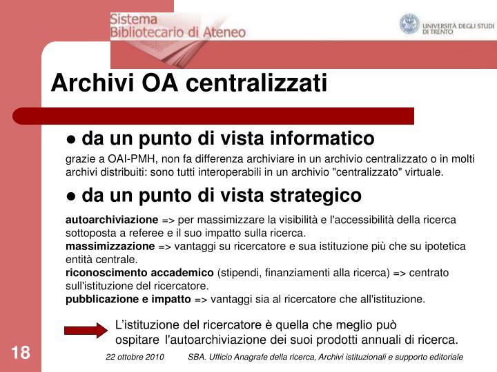 Archivi OA centralizzati