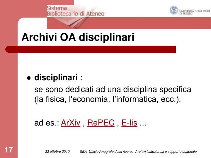 Archivi OA disciplinari