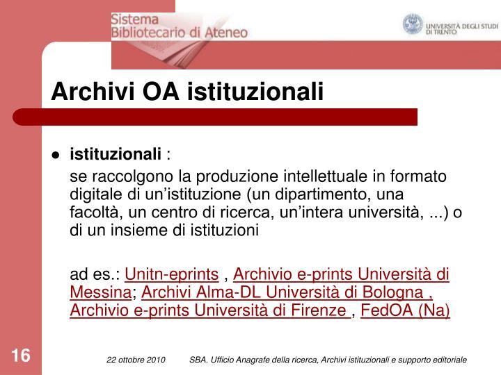 Archivi OA istituzionali