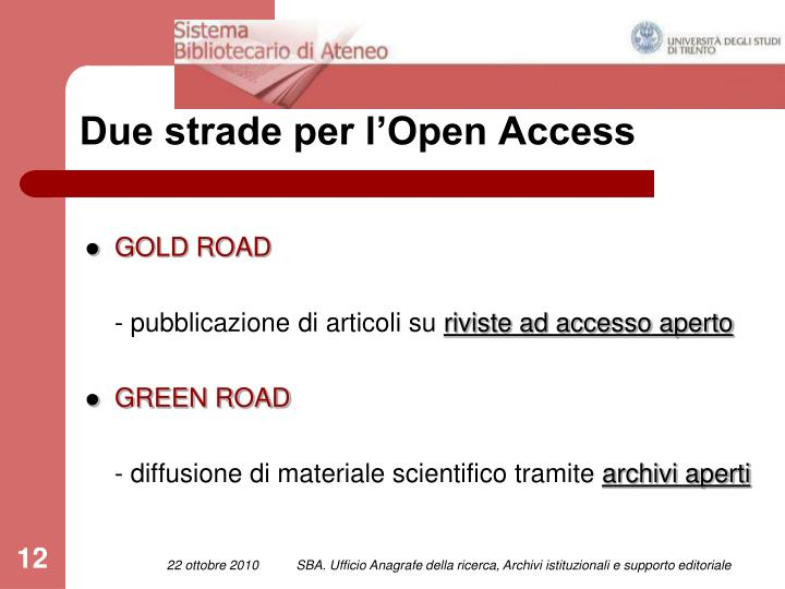 Due strade per l'Open Access