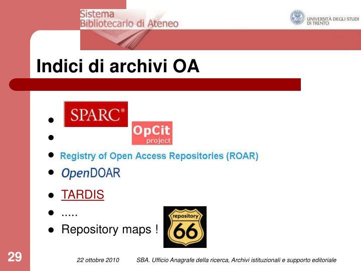Indici di archivi OA