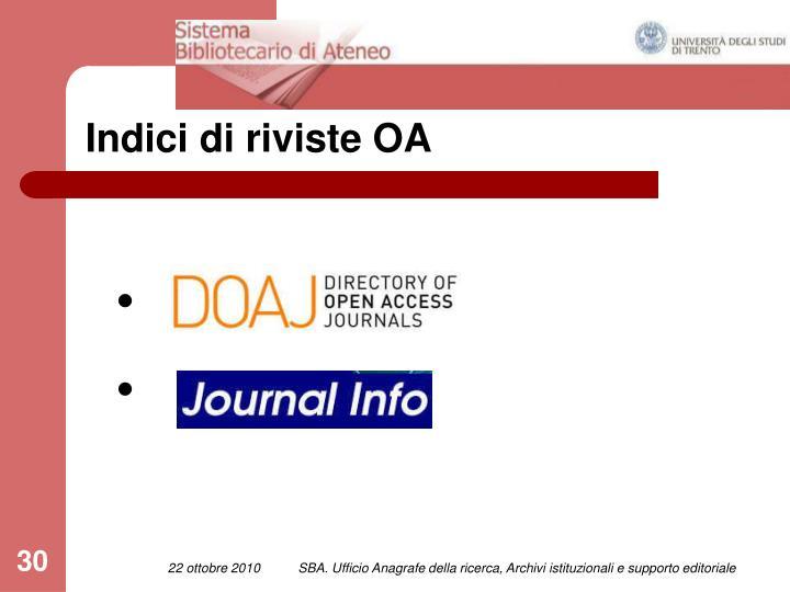Indici di riviste OA