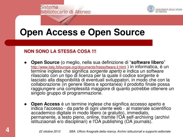 Open Access e Open Source