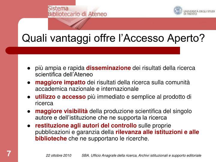 Quali vantaggi offre l'Accesso Aperto?