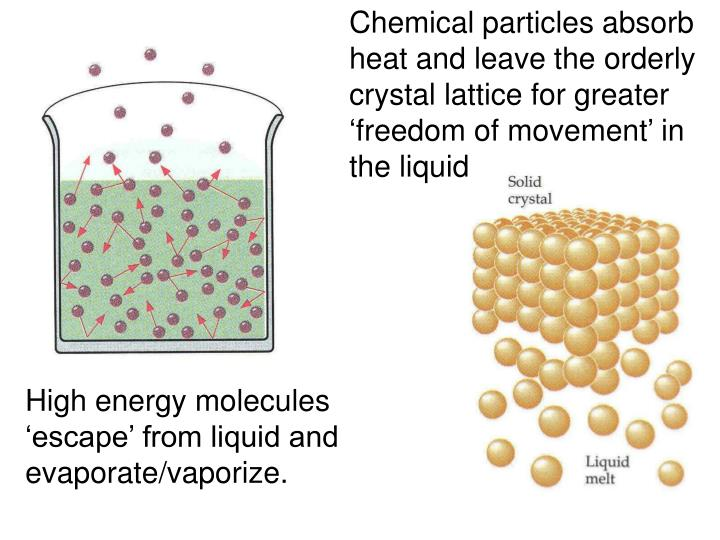 Chemical particles absorb heat and leave the orderly crystal lattice for greater 'freedom of movement' in the liquid