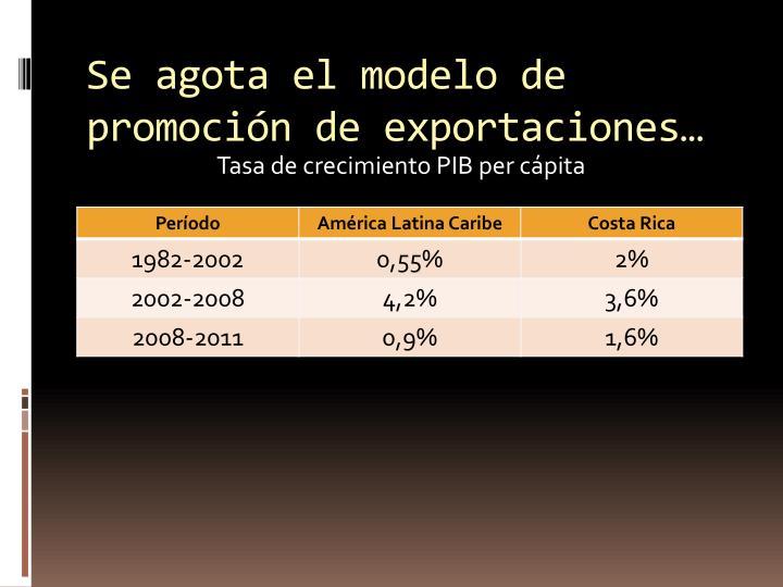Se agota el modelo de promoción de exportaciones…