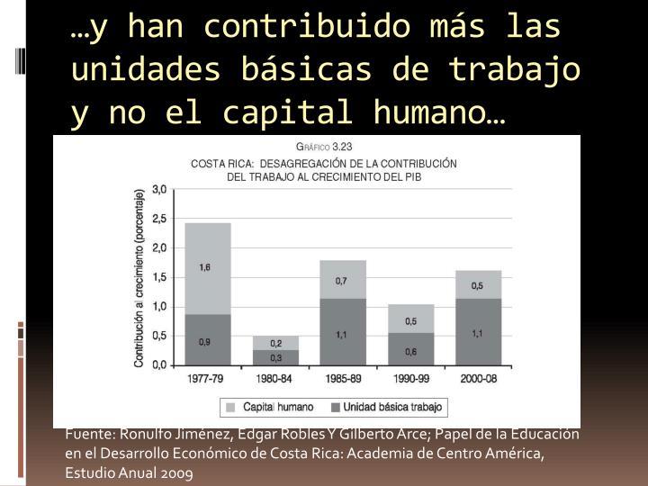 …y han contribuido más las unidades básicas de trabajo y no el capital humano…