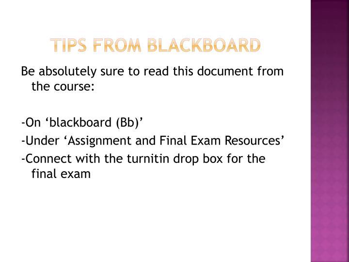 Tips from Blackboard