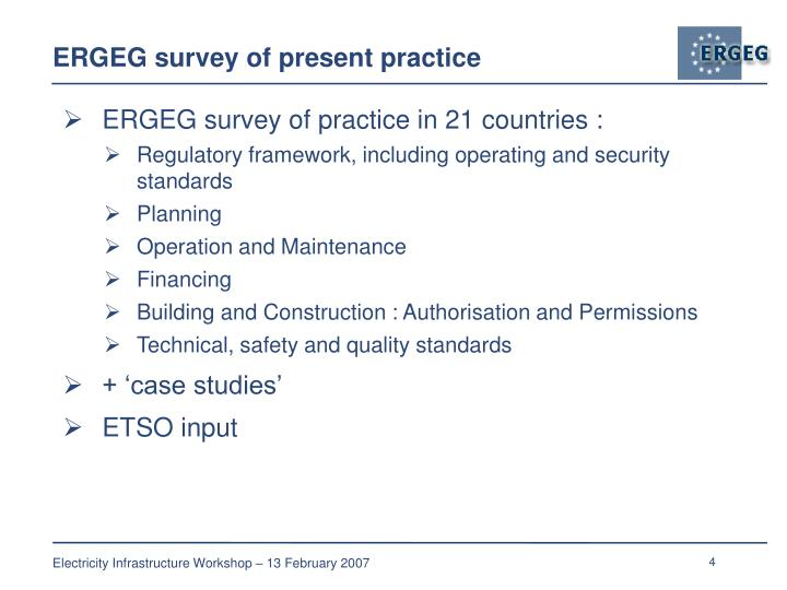 ERGEG survey of present practice