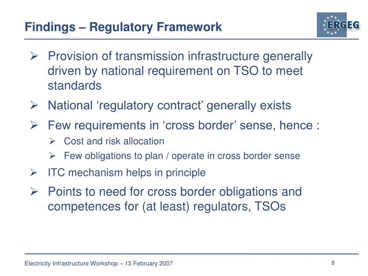 Findings – Regulatory Framework