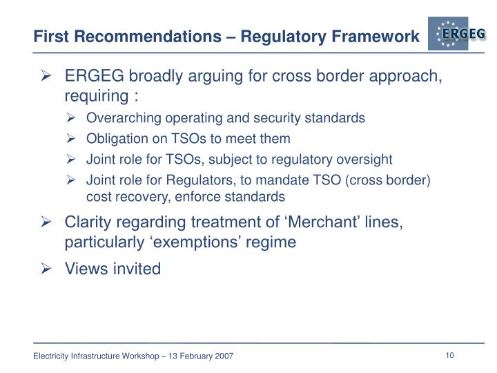 First Recommendations – Regulatory Framework
