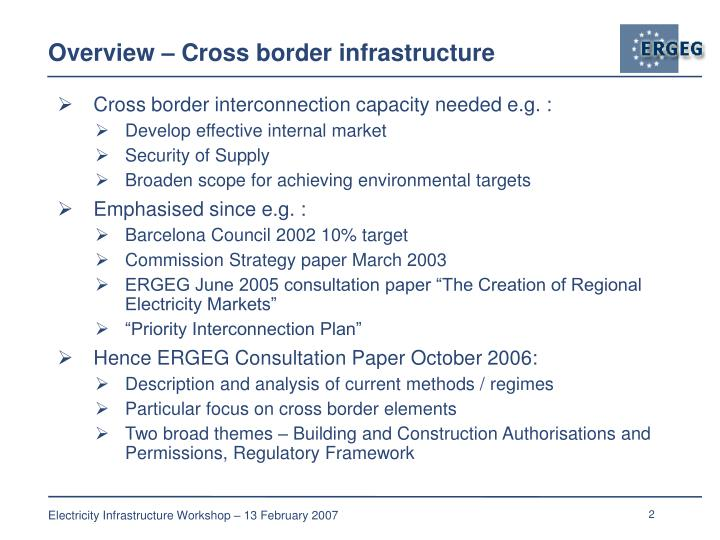 Overview cross border infrastructure